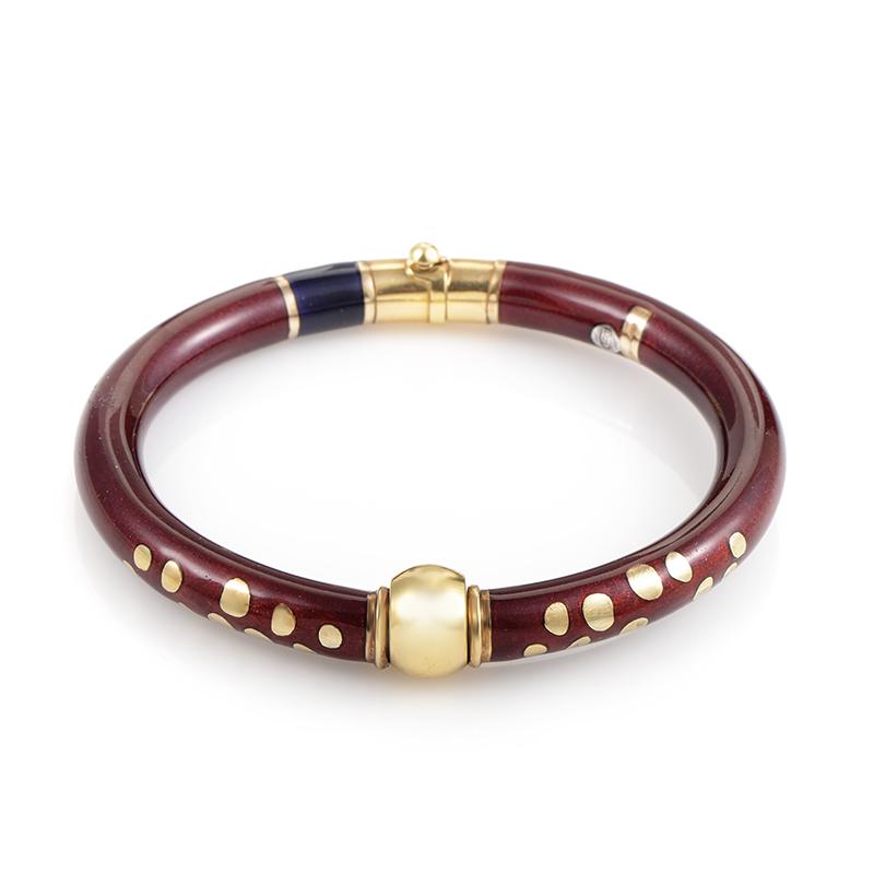 Nouvelle Bague 18K Yellow Gold & Silver Enamel Bangle Bracelet
