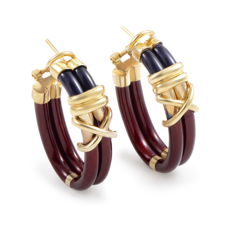Nouvelle Bague Women's 18K Yellow Gold Enamel Hoop Earrings