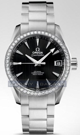 Seamaster Aqua Terra Mid Size Chronometer with Diamonds (SS / Black / Strap)