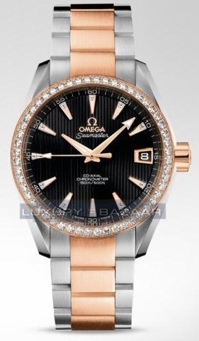 Seamaster Aqua Terra Mid Size Chronometer with Diamonds (SS- RG / Black / Bracelet)
