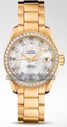 Seamaster Aqua Terra Automatic with Diamonds (YG / Teck-White-Mother-of-Pearl / Bracelet)