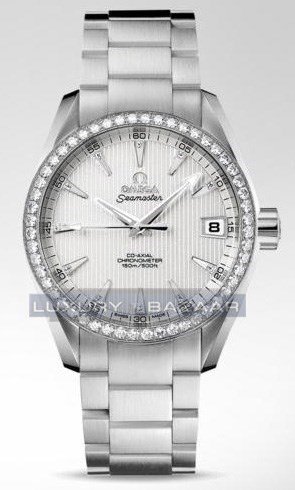 Seamaster Aqua Terra Mid Size Chronometer with Diamonds (WG / Teck-Grey / Bracelet)