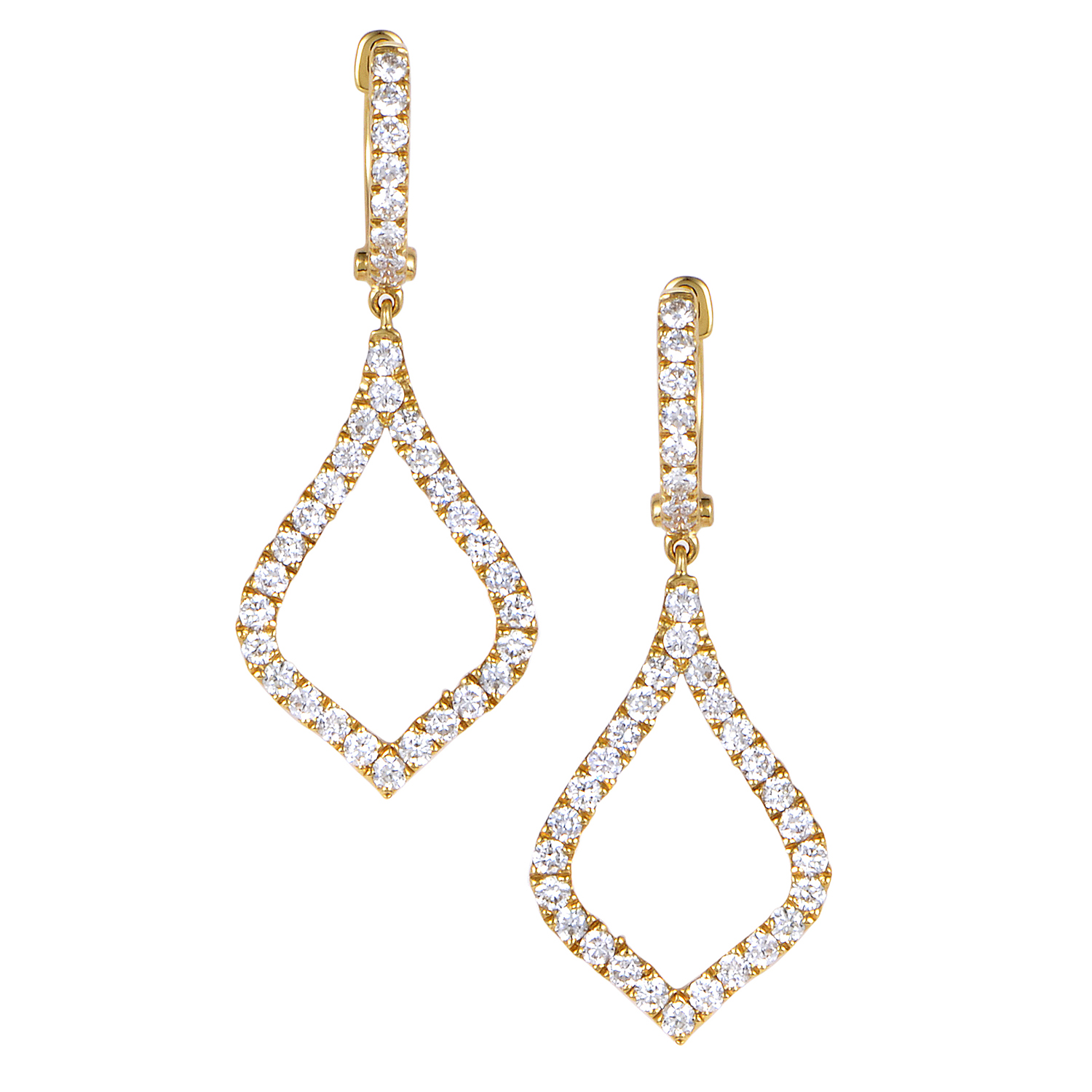 Women's 18K Yellow Gold Diamond Pave Teardrop Dangle Earrings AER-11095Y