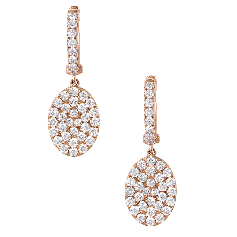 Women's 18K Rose Gold Diamond Pave Oval Dangle Earrings AER-11155R