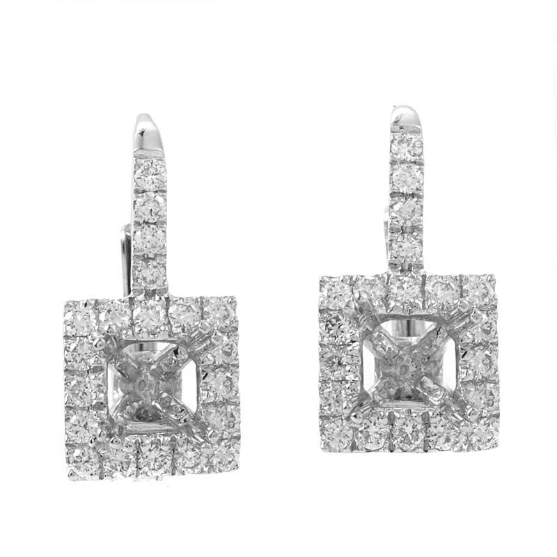 18K White Gold Diamond Pave Mounting Huggie Earrings AER-2419W