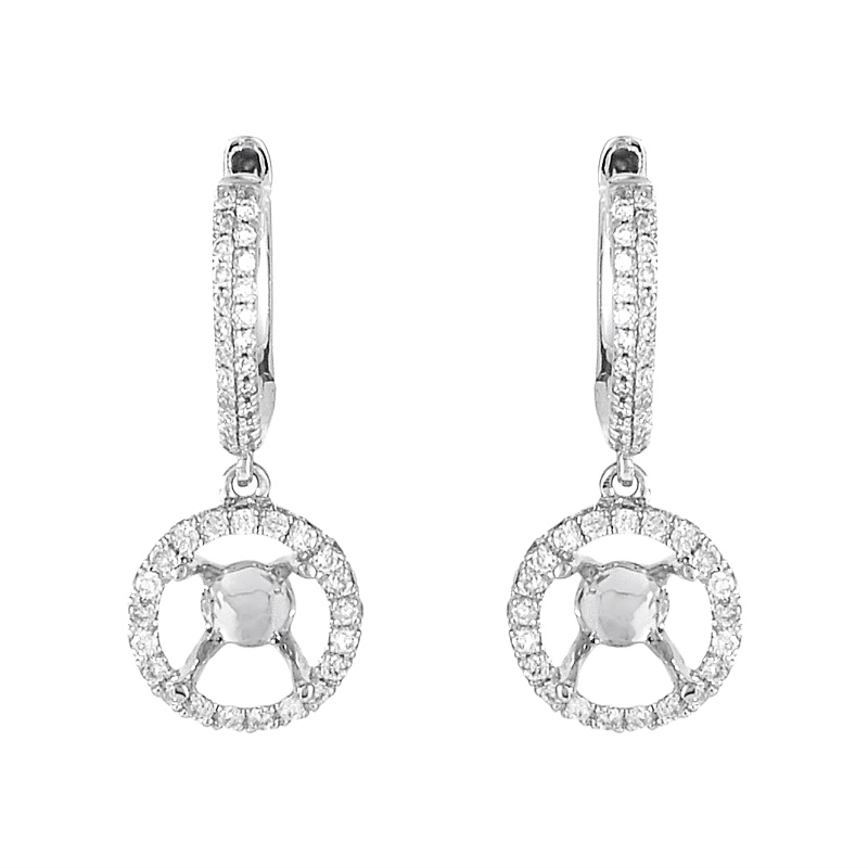 18K White Gold Diamond Dangle Mounting Earrings AER-4744W