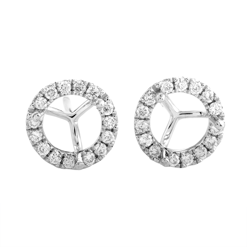 18K White Gold Diamond Stud Mounting Earrings AER-5477W