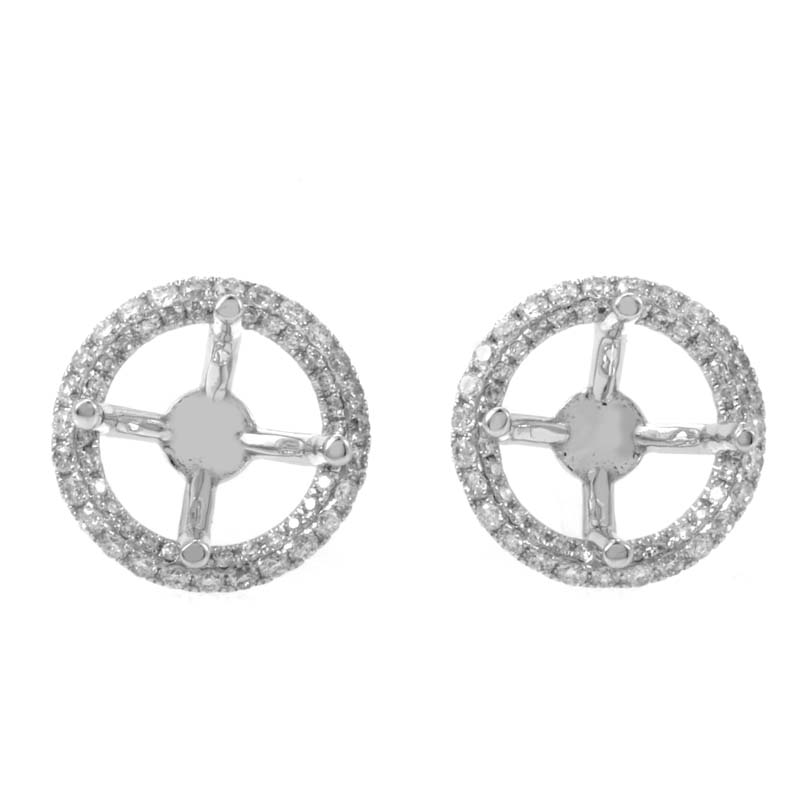 18K White Gold Diamond Mounting Stud Earrings 1015748