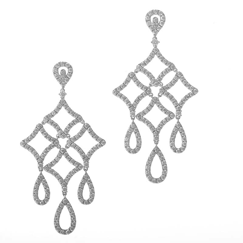 18K White Gold Diamond Pave Chandelier Drop Earrings AER-8931W