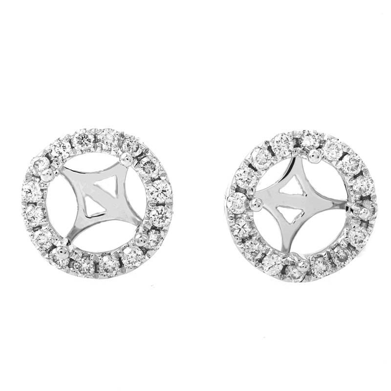 18K White Gold Diamond Mounting Stud Earrings AER-9402W