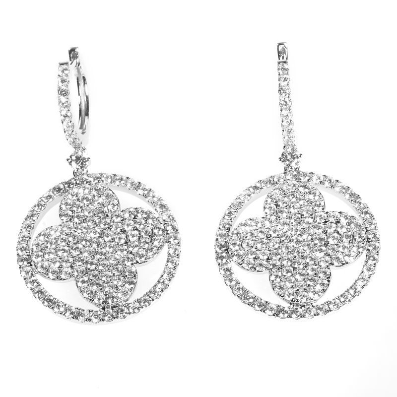 18K White Gold & Diamond Clover Earrings AER-9741W