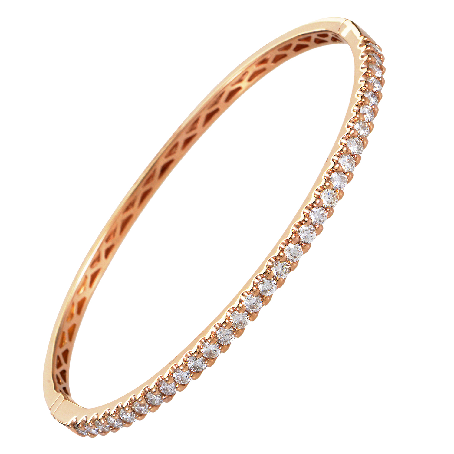 Women's 18K Rose Gold Diamond Bangle Bracelet ALB-10975R