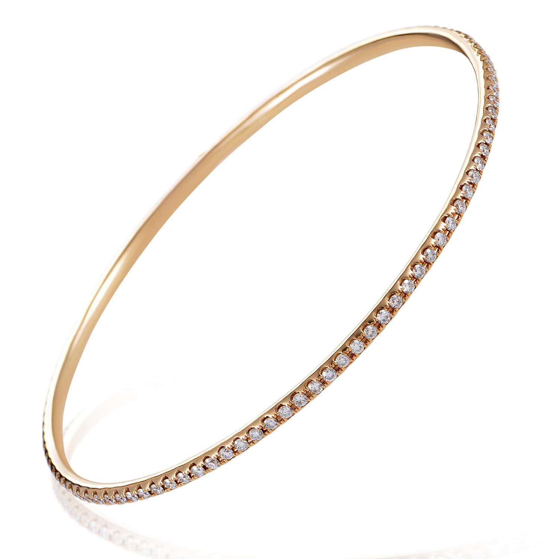 Women's Thin 18K Rose Gold Diamond Pave Bangle Bracelet ALB-6555R