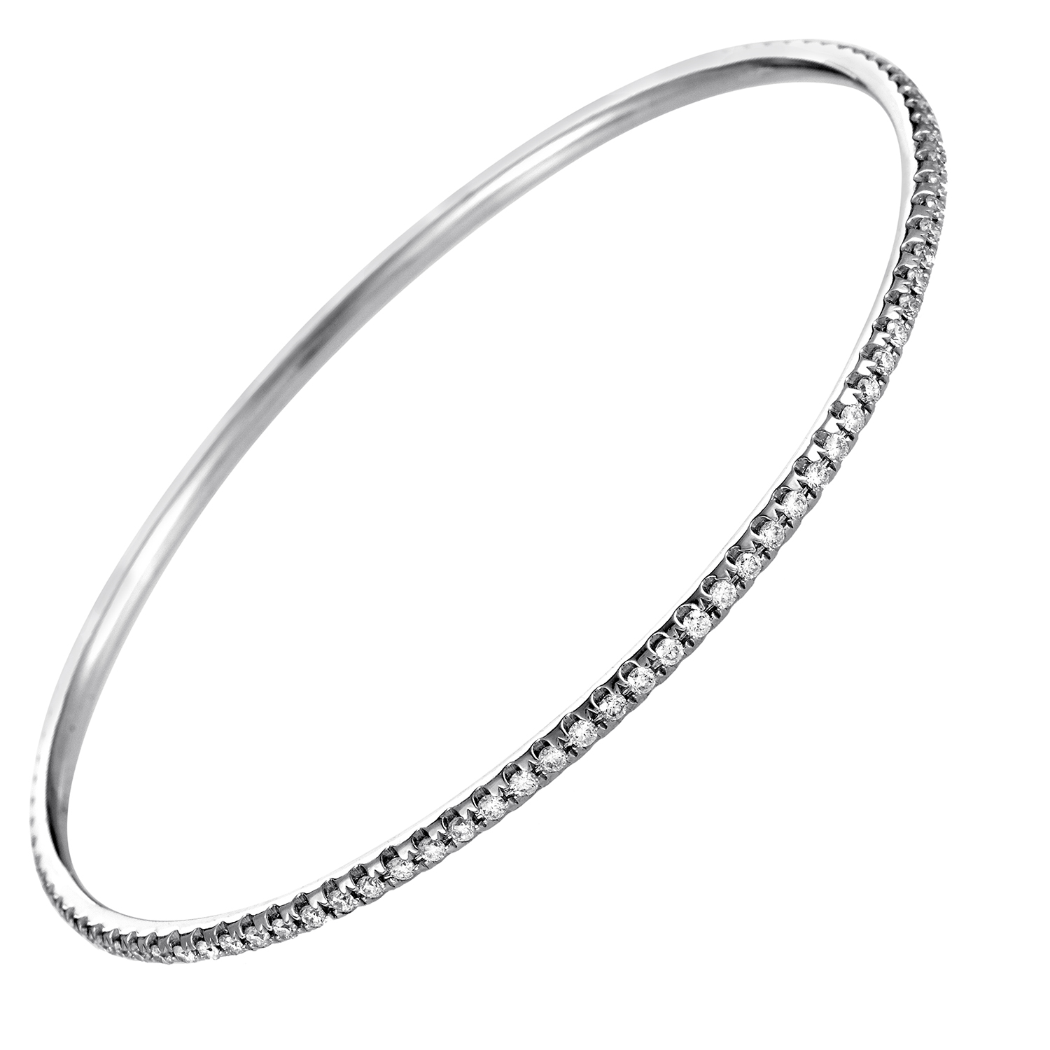 Women's Thin 18K White Gold Diamond Pave Bangle Bracelet ALB-6555W