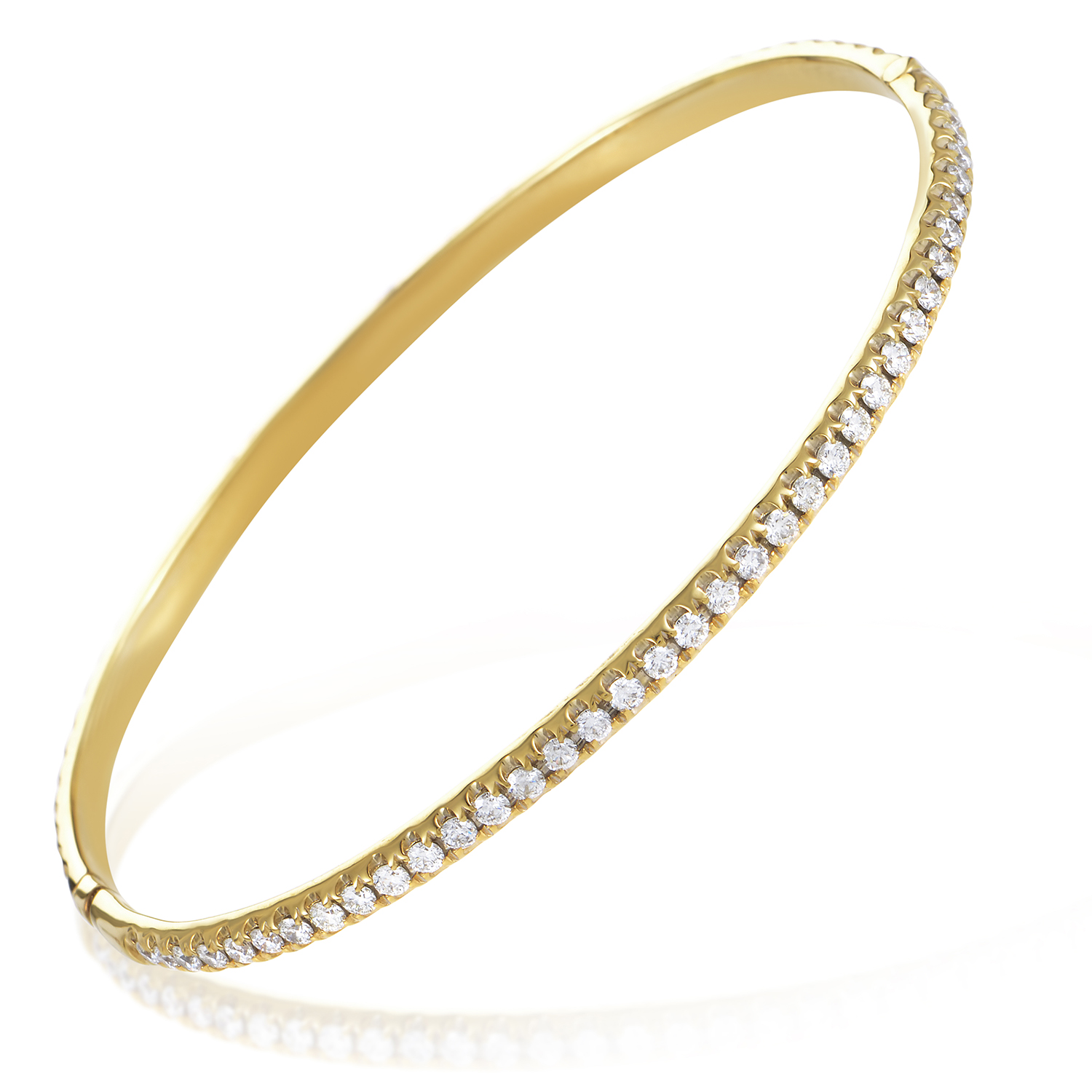 Women's 18K Yellow Gold Diamond Pave Bangle Bracelet ALB-6696Y