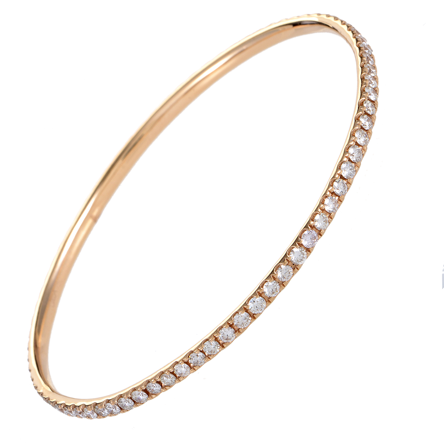 Women's 18K Rose Gold Diamond Pave Bangle Bracelet ALB-7508R