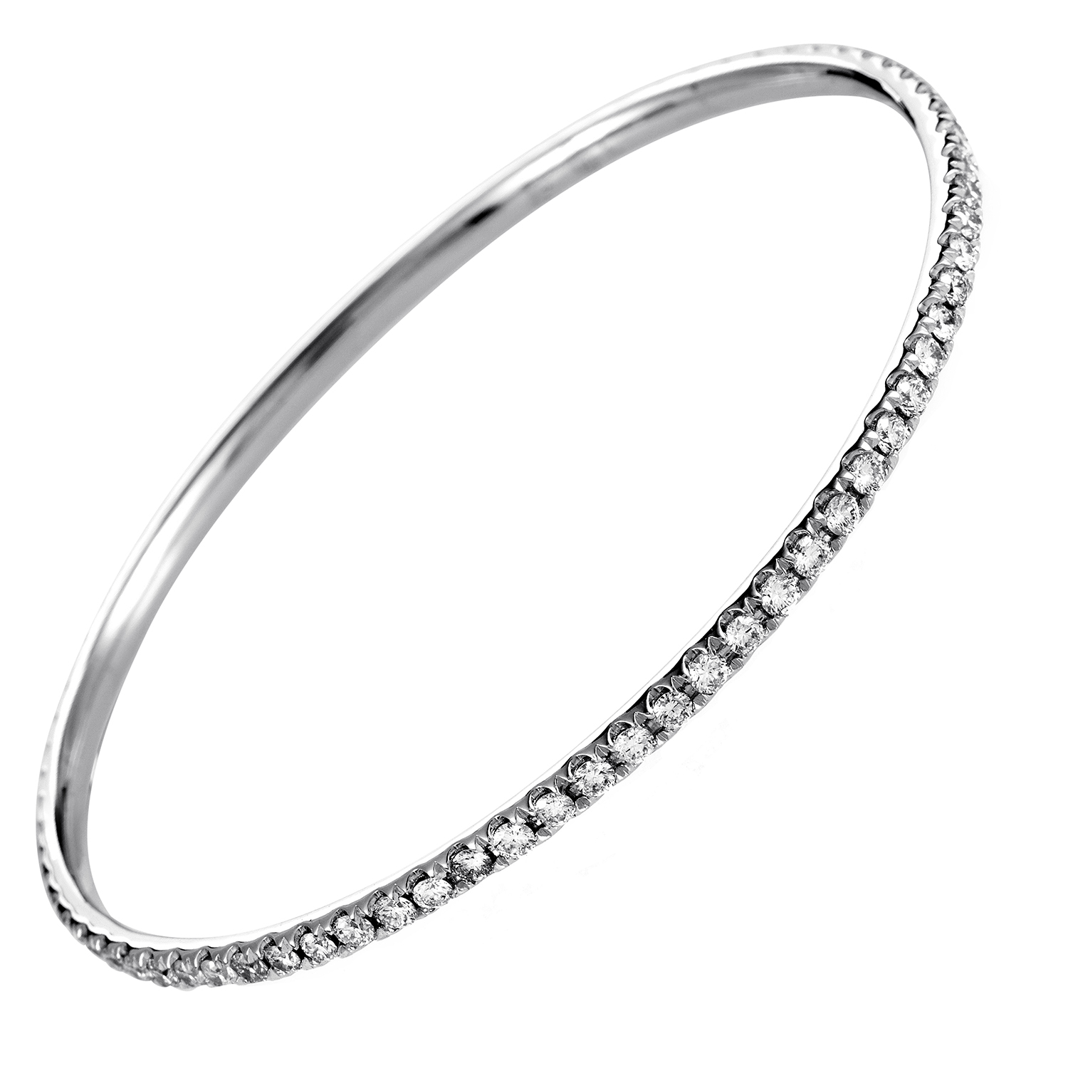 Women's 18K White Gold Diamond Bangle Bracelet ALB-7508W