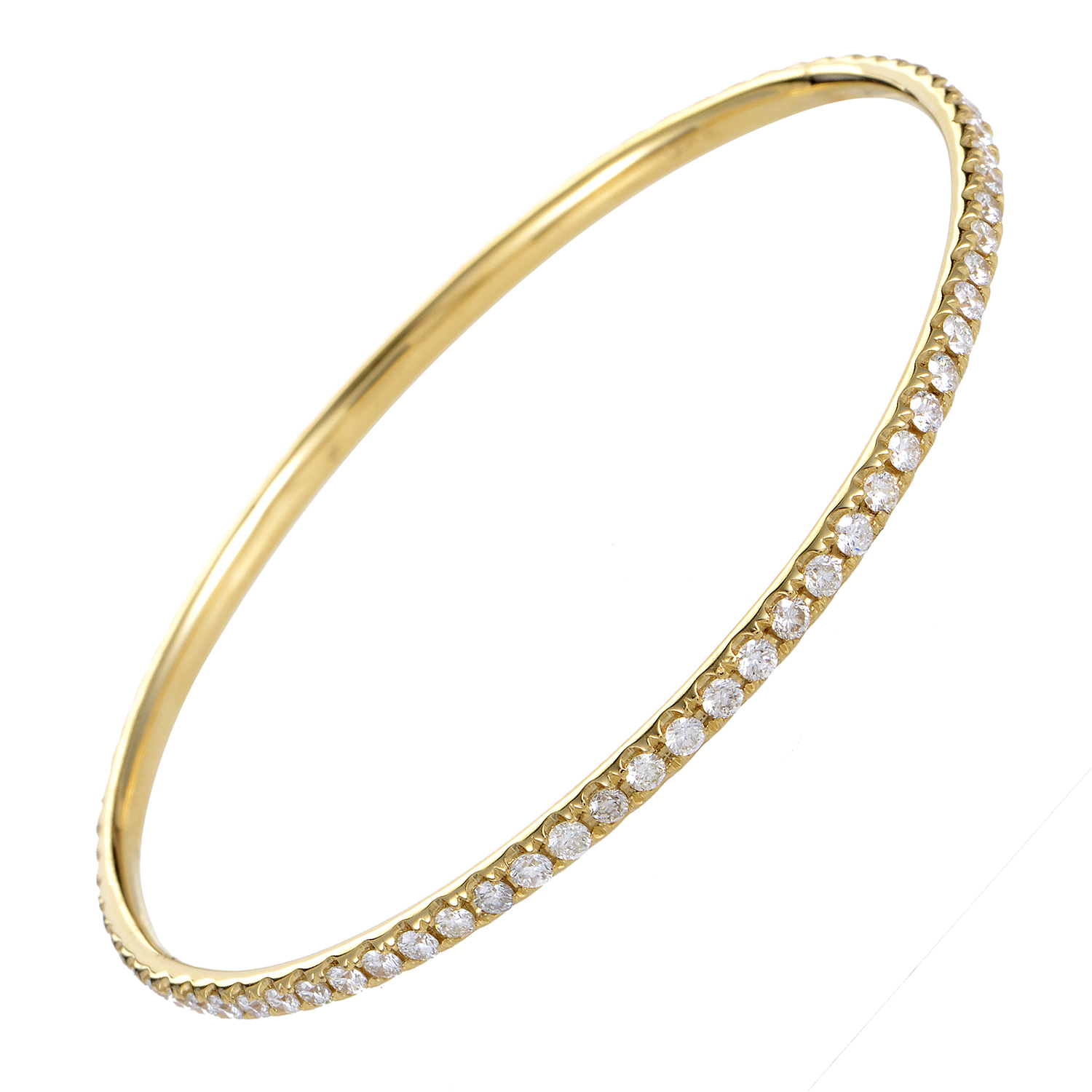 Women's 18K Yellow Gold Diamond Pave Bangle Bracelet ALB-7508Y
