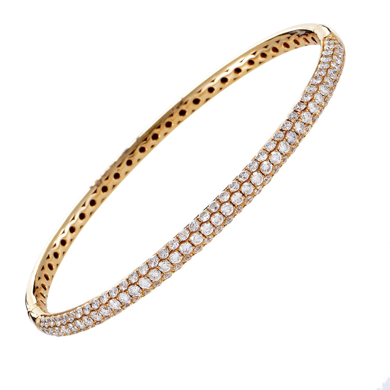 Women's 18K Rose Gold 3 Row Diamond Pave Bangle Bracelet ALB-7592R