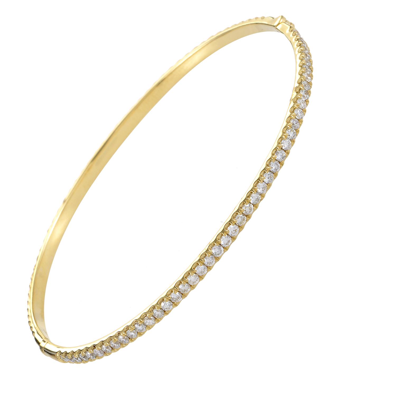 Women's Thin 18K Yellow Gold Diamond Pave Bangle Bracelet ALB-8601Y