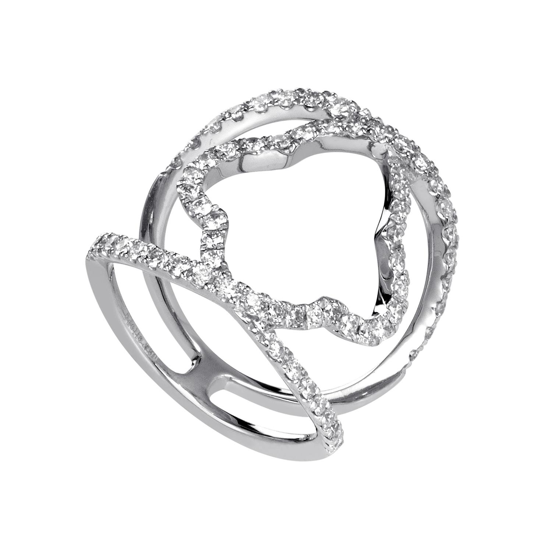 Women's 18K White Gold Diamond Pave Quatrefoil Band Ring ALR-11751W