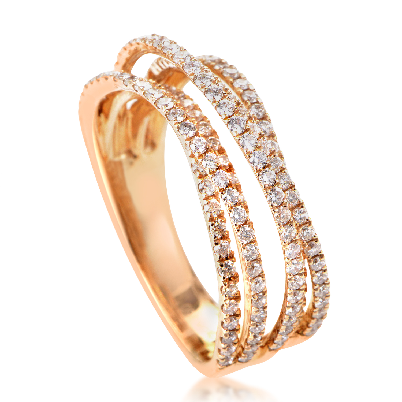 18K Rose Gold Diamond Band Ring ALR-10289R