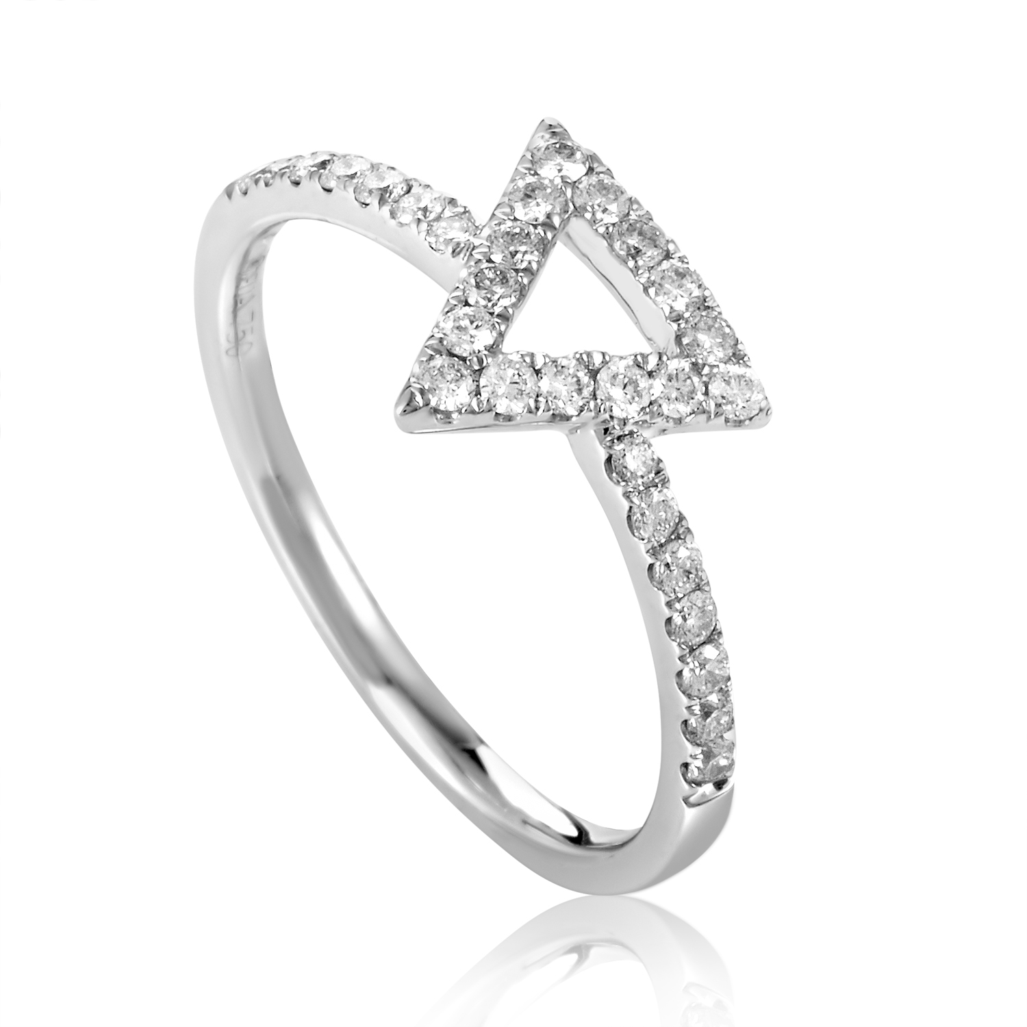 Women's 18K White Gold Diamond Triangle Ring ALR-10347W