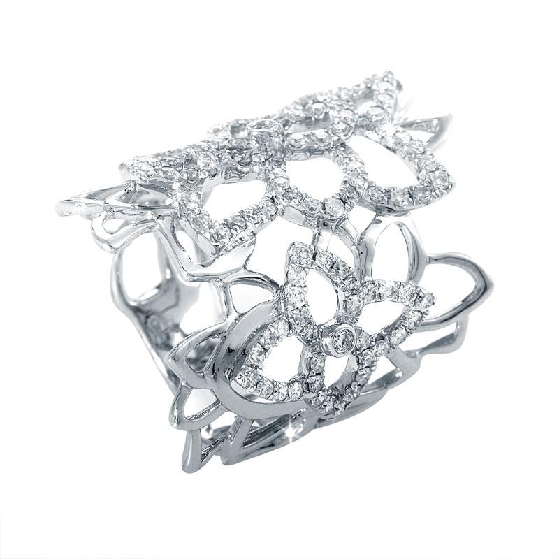 18K White Gold Floral Diamond Band Ring ALR-10611W