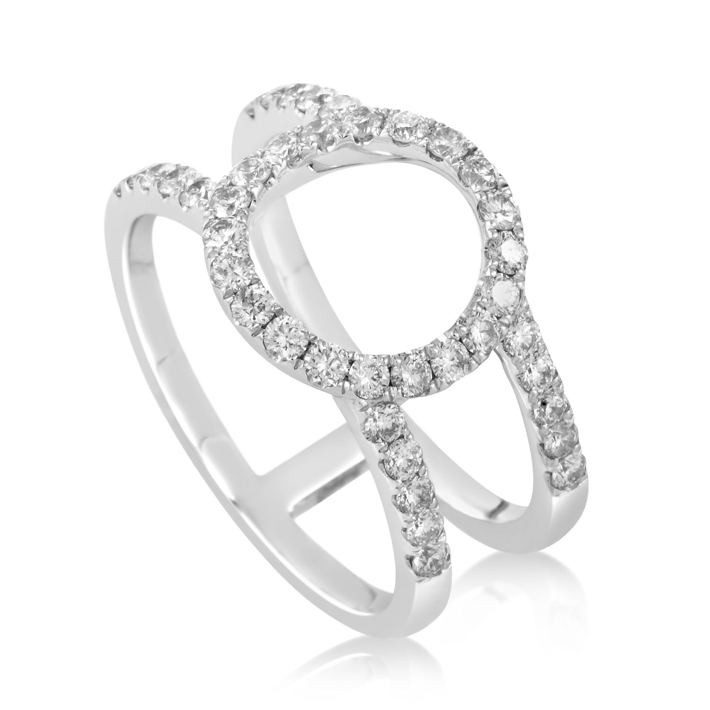 18K White Gold Openwork Diamond Band Ring ALR-11170W