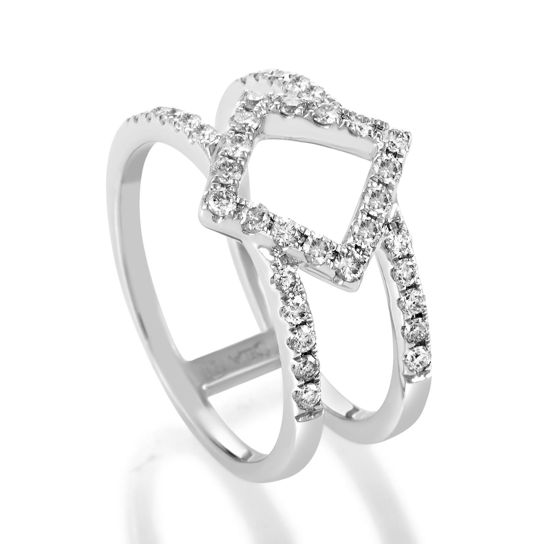 Women's 18K White Gold Openwork Diamond Band Ring ALR-11172W