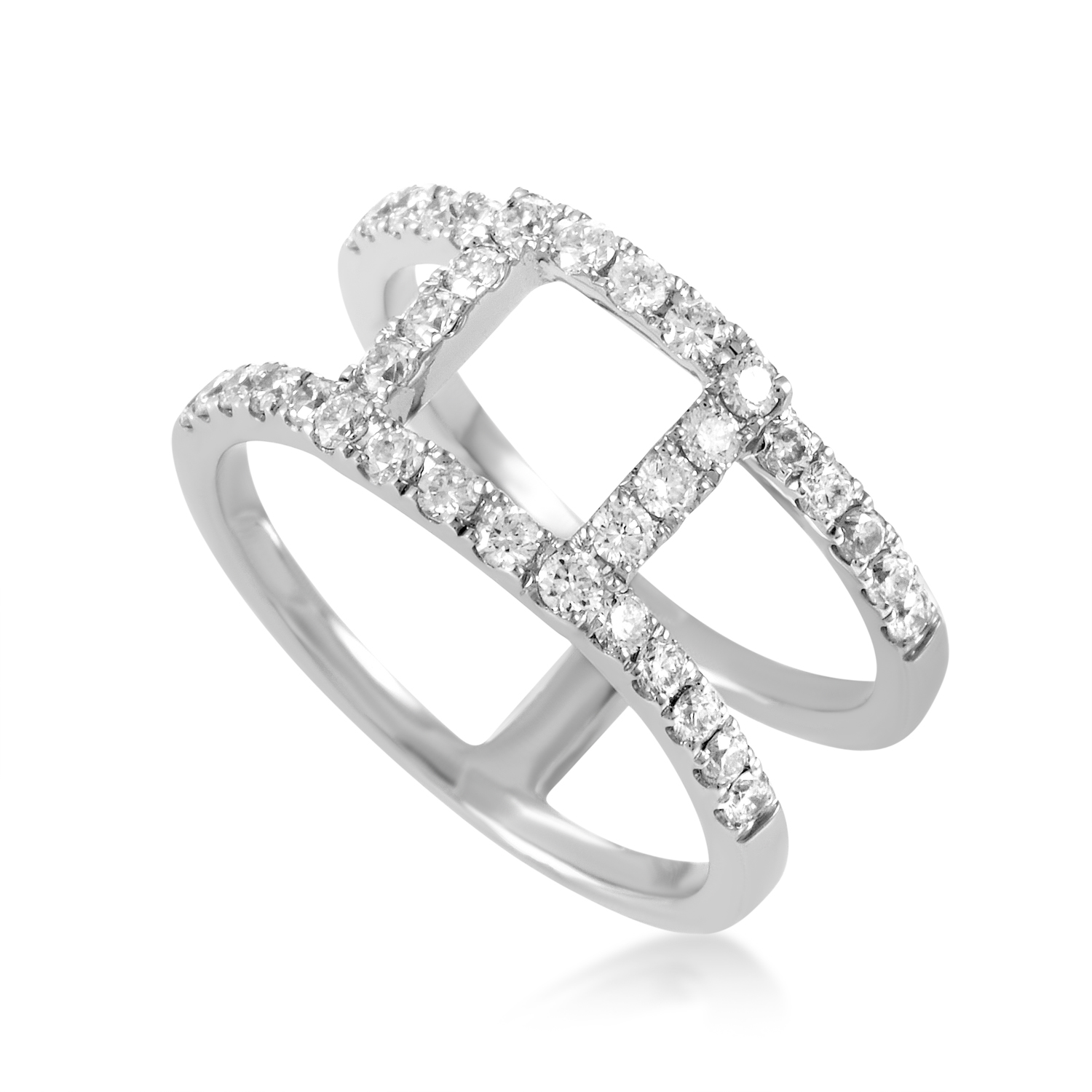 Women's 18K White Gold Openwork Diamond Band Ring ALR-11229W