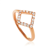 18K Rose Gold Diamond Triangle Ring ALR-11251R