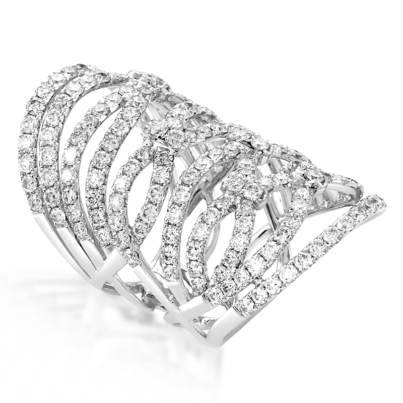 18K White Gold Diamond Lace Band Ring ALR-7901W