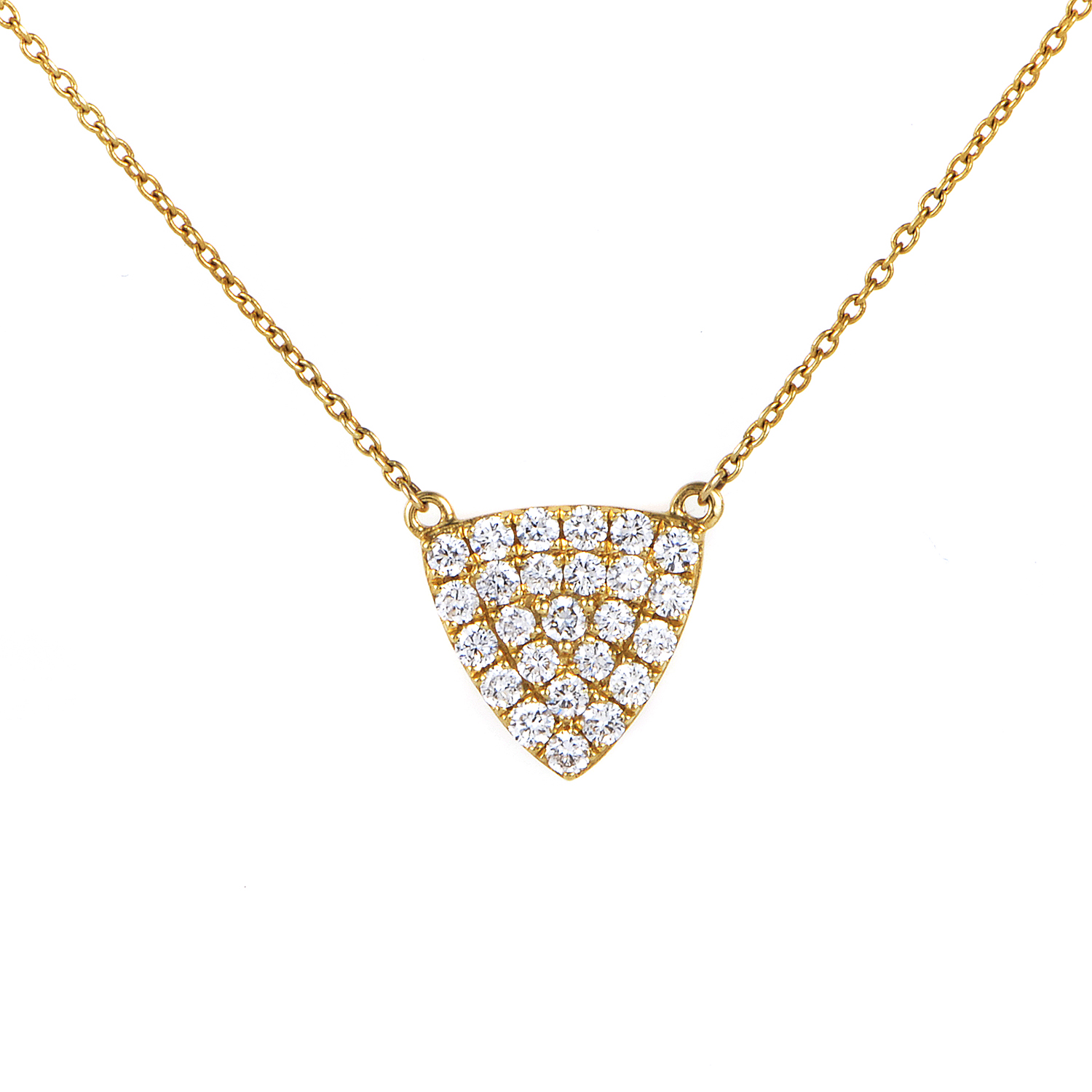 Women's 18K Yellow Gold Diamond Pave Triangle Pendant Necklace