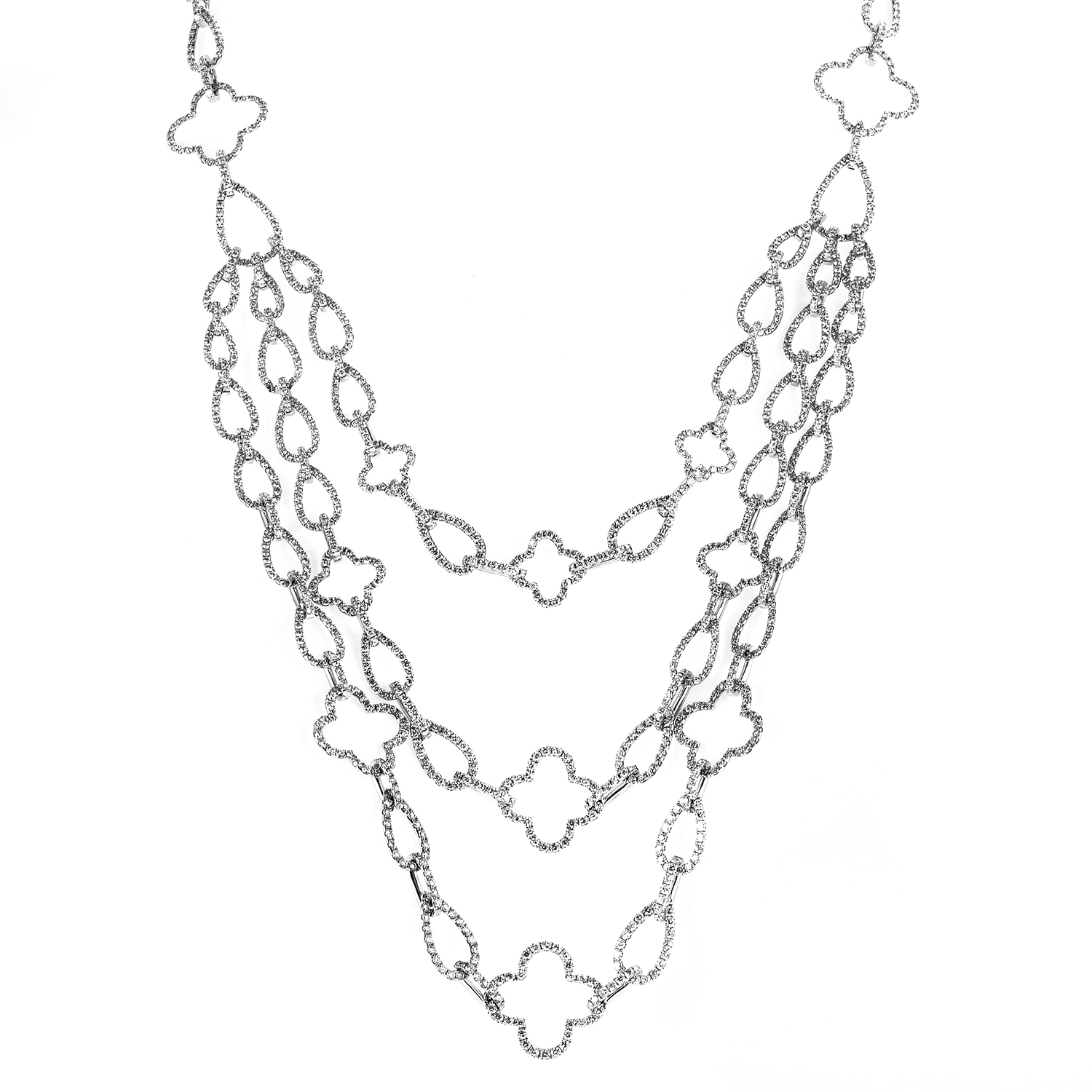 Women's 18K White Gold Full Diamond Pave Multi-Strand Necklace