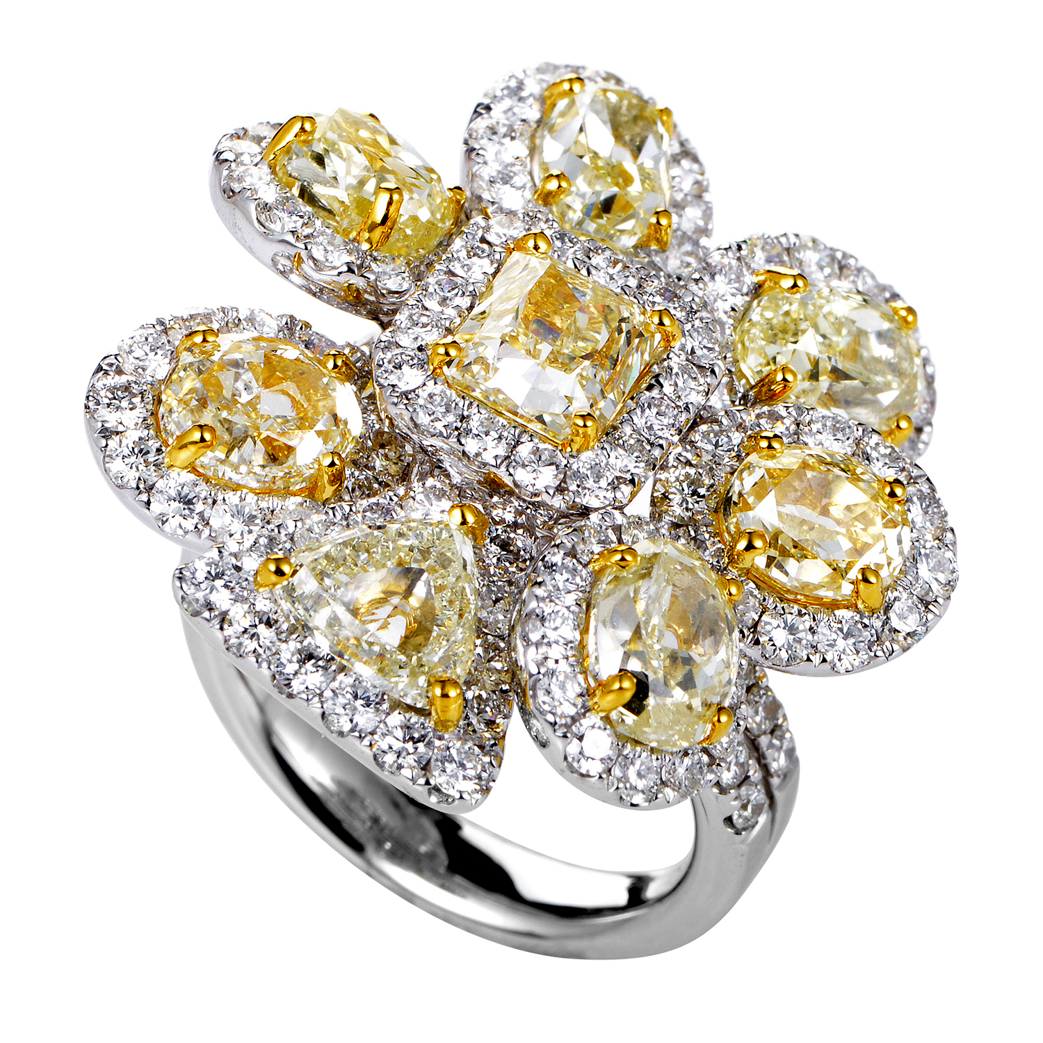 Women's 18K Multi-Tone Gold & Diamond Cluster Ring GLR-1161WY825