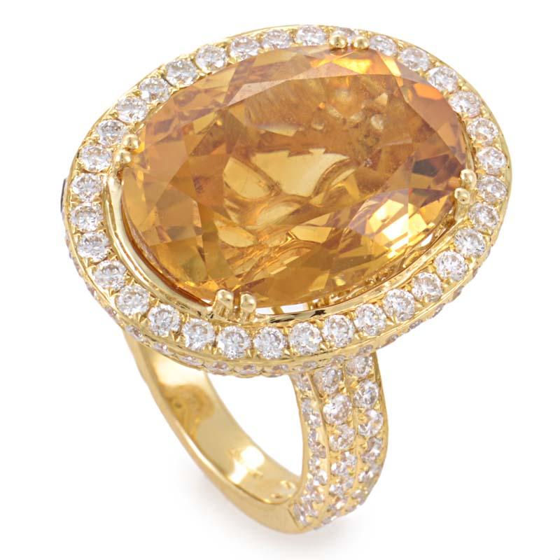 18K Yellow Gold Citrine & Diamond Ring GLR-1157