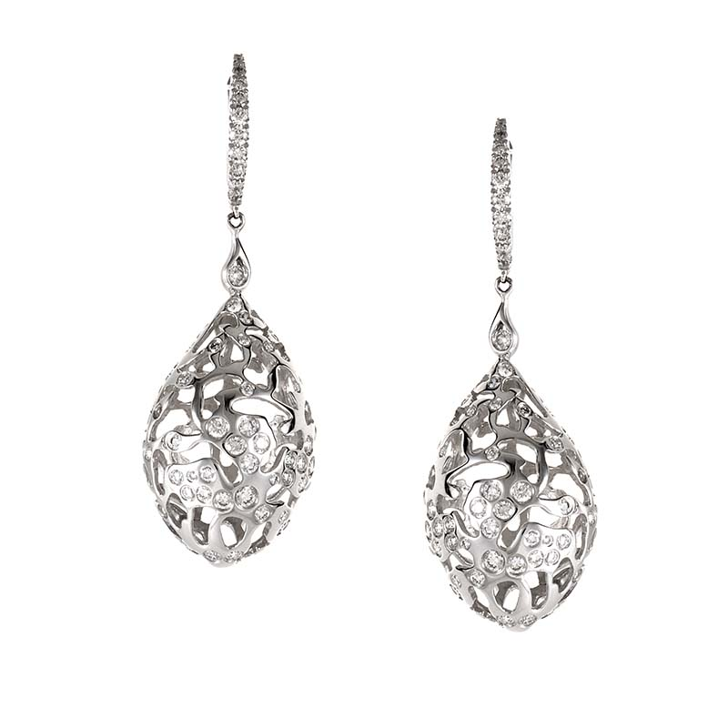 18K White Gold Diamond Filigree Drop Earrings