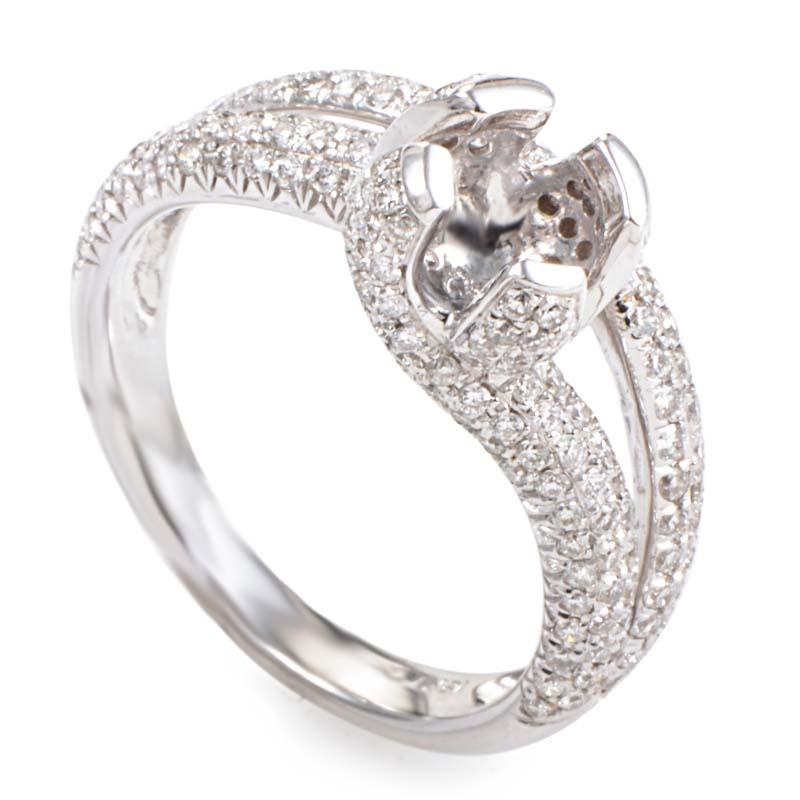18K White Gold Diamond Pave Split Shank Mounting Ring LBD-095519