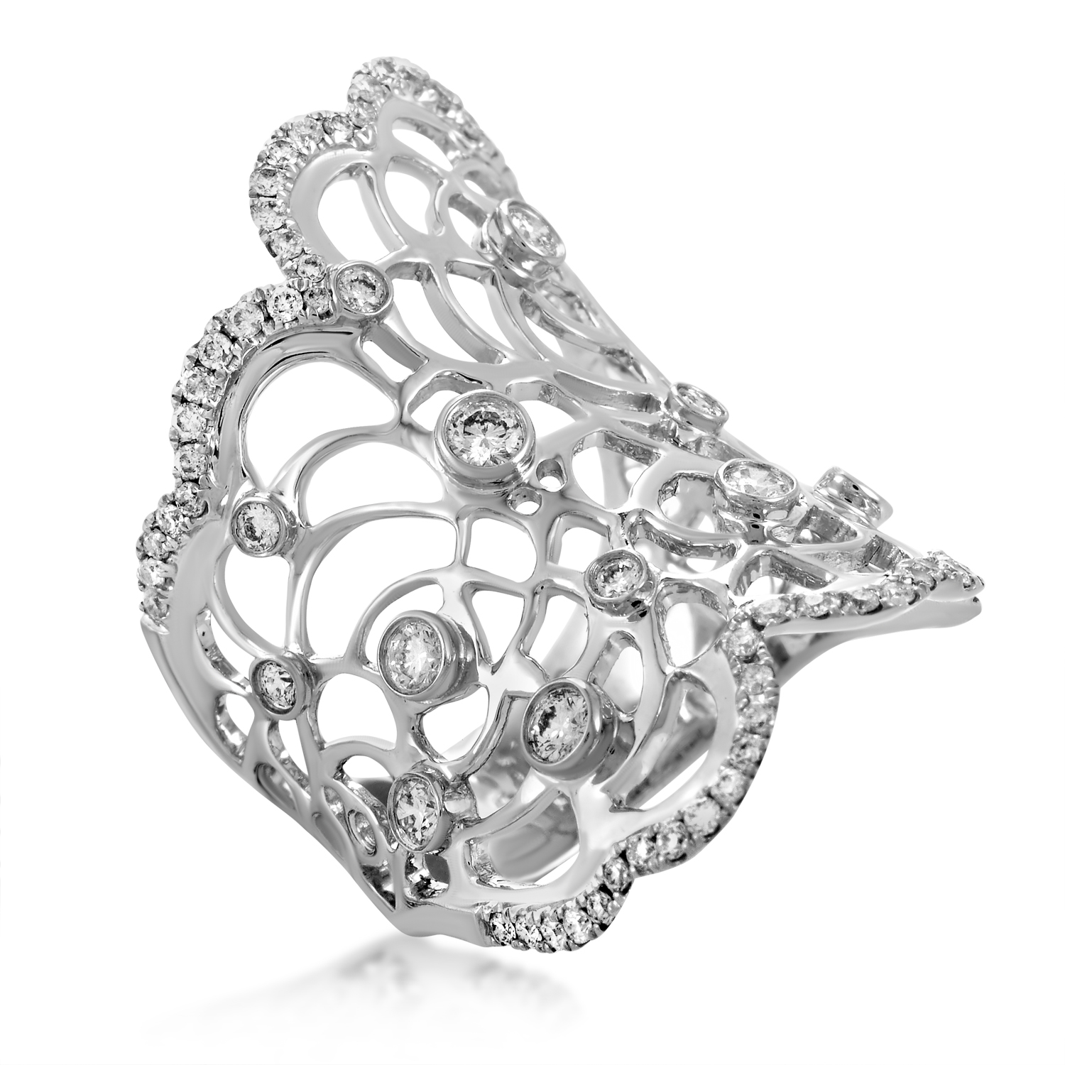 18K White Gold Fliligree Diamond Ring