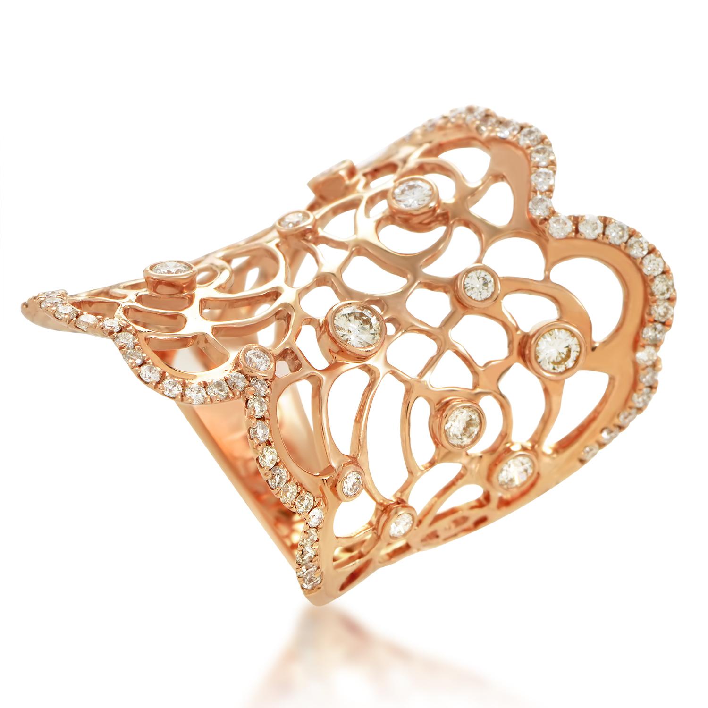 18K Rose Gold Filigree Diamond Ring