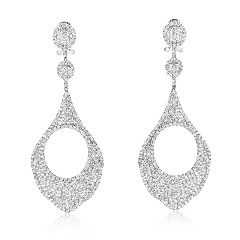 18K White Gold Diamond Pave Drop Earrings AER-7916W
