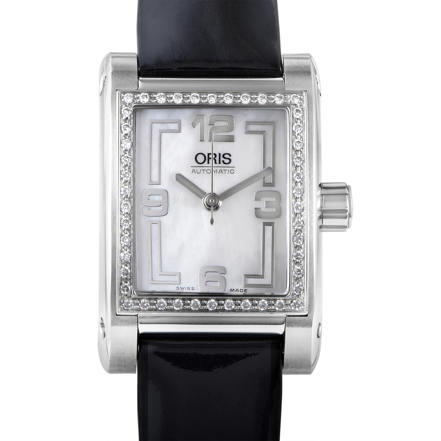 Rectangle Diamonds Ladies Stainless Steel Automatic Watch 56175354961