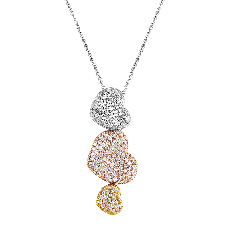Women's 18K Tri-Gold Diamond Pave Hearts Pendant Necklace