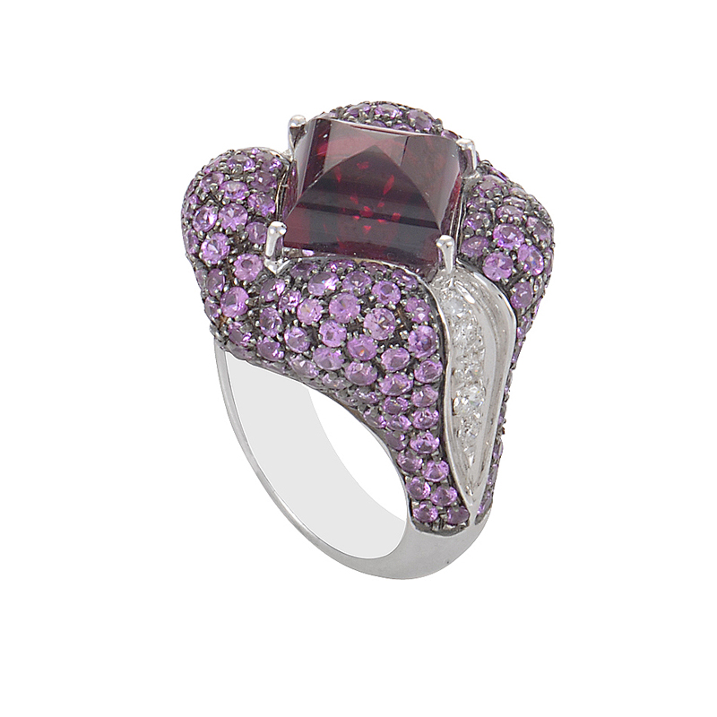 18K White Gold Pink Gemstone & Diamond Cocktail Ring 02314329