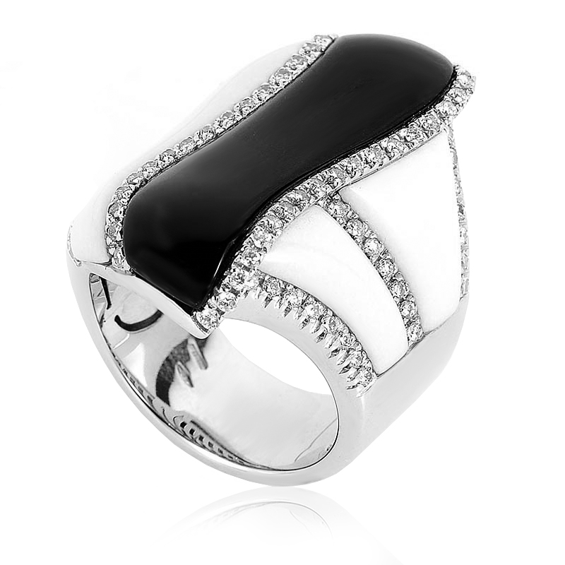 18K White Gold Black & White Onyx Diamond Ring