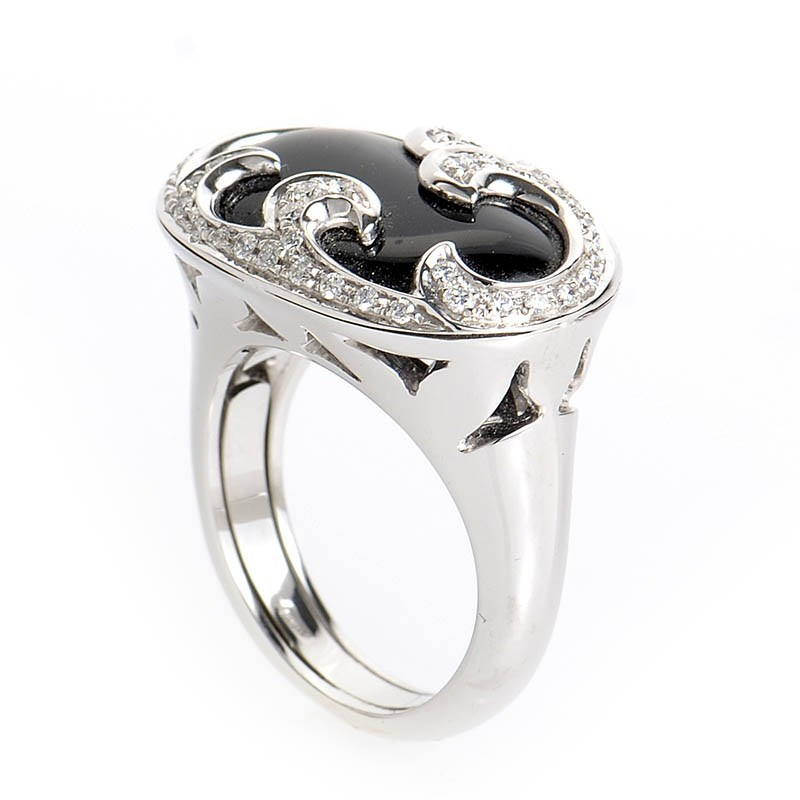 Women's 18K White Gold Diamond & Onyx Oval Ring