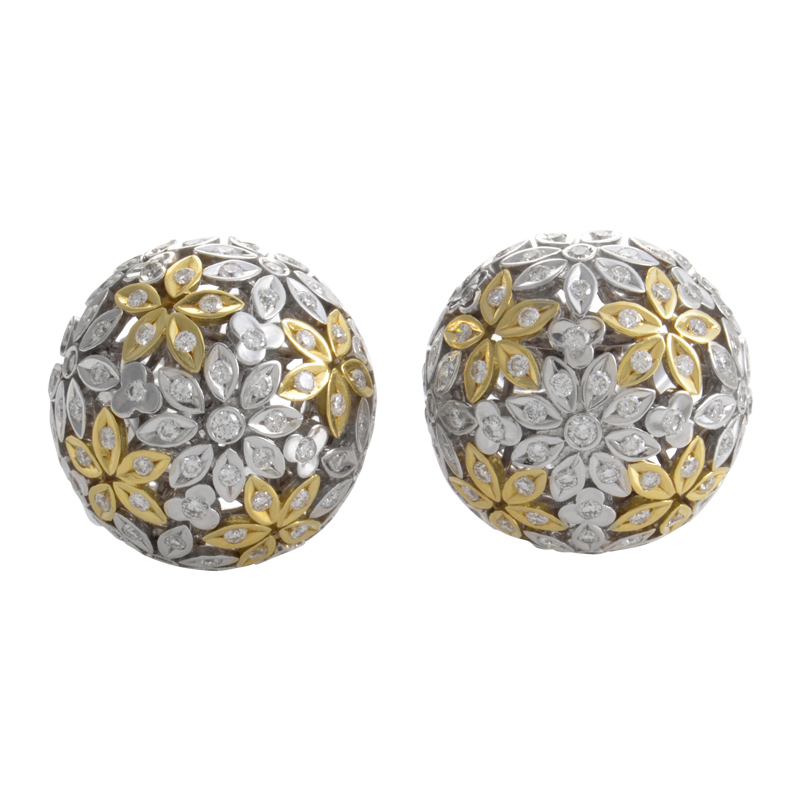18K Multi-Gold Floral Diamond Button Earrings