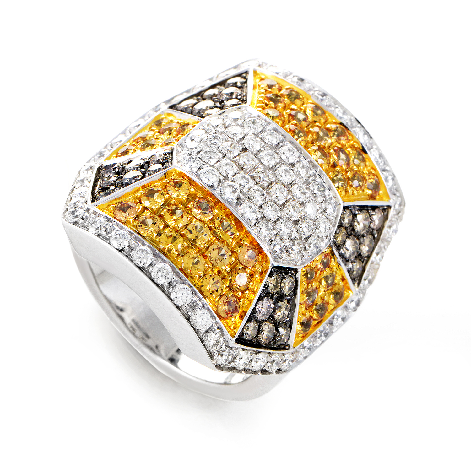 18K White Gold Diamond & Yellow Sapphire Ring