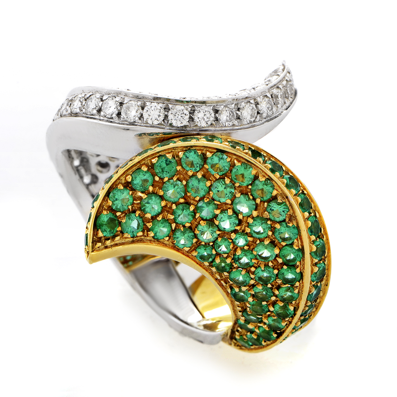 18K Multi-Tone Gold Emerald & Diamond Ring